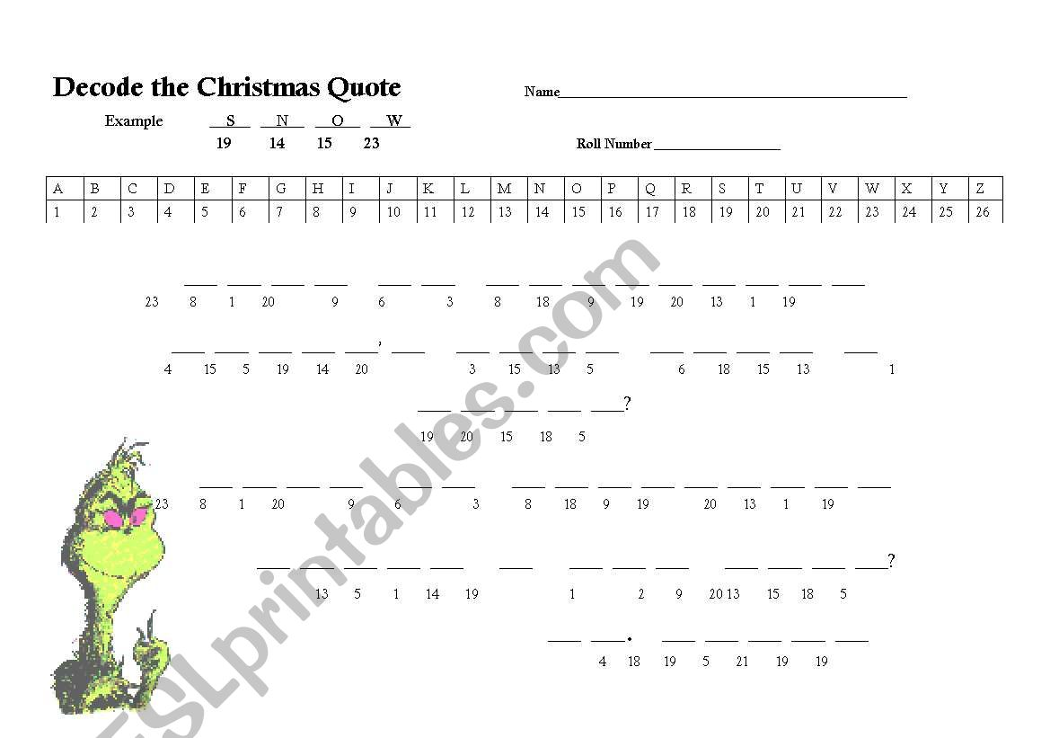 English Worksheets Grinch Quote Puzzle