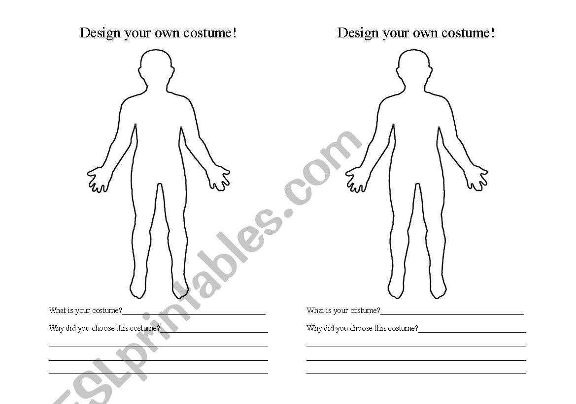 English Worksheets Design Your Own Halloween Costume