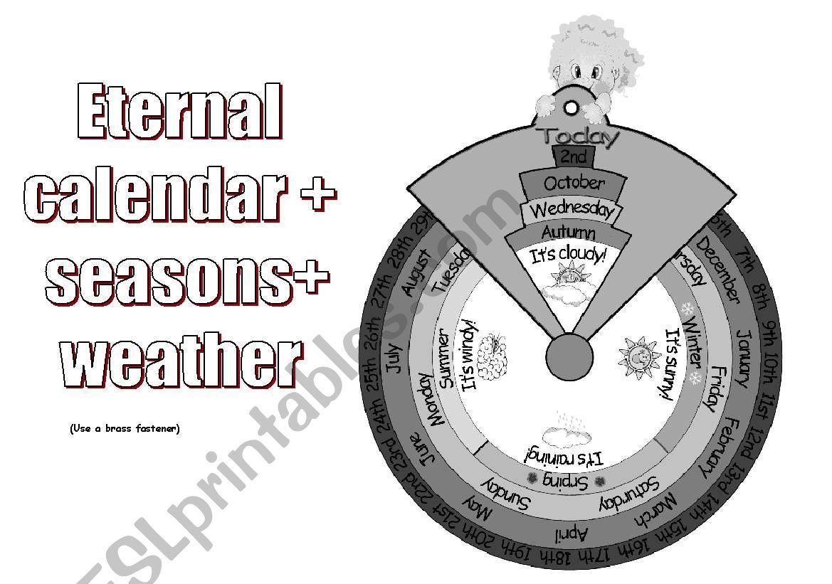 Eternal Calendar Seasons Weather B W Version
