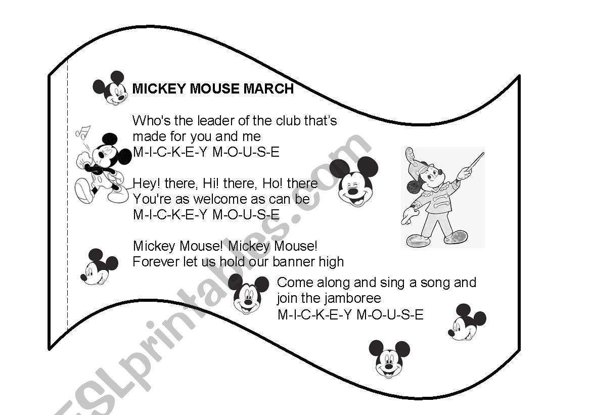 English Worksheets Mickey Mouse March Flags