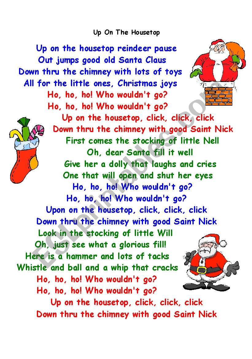 Christmas Song Up On The House Top By Ann Murray ESL