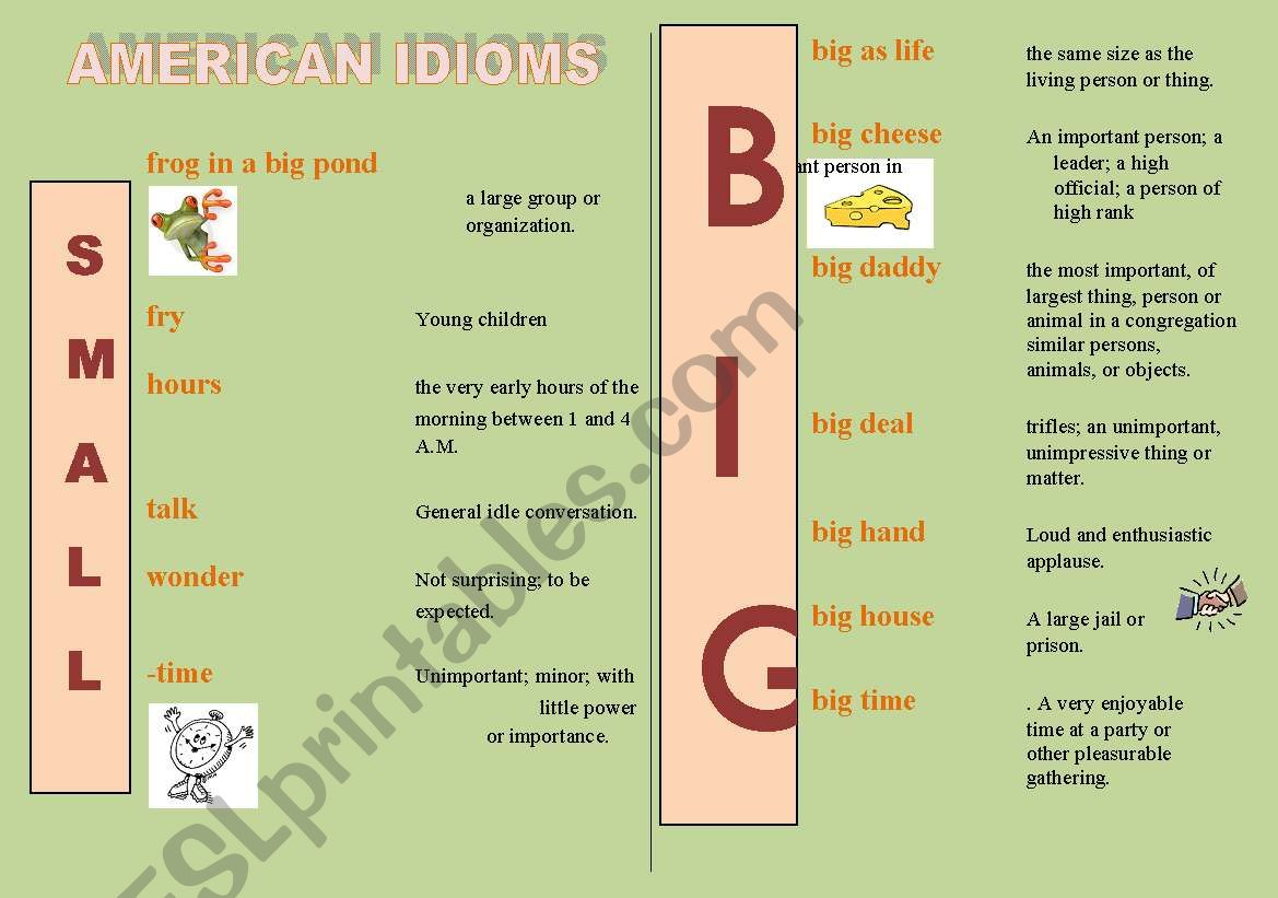 American Idioms With Small And Big