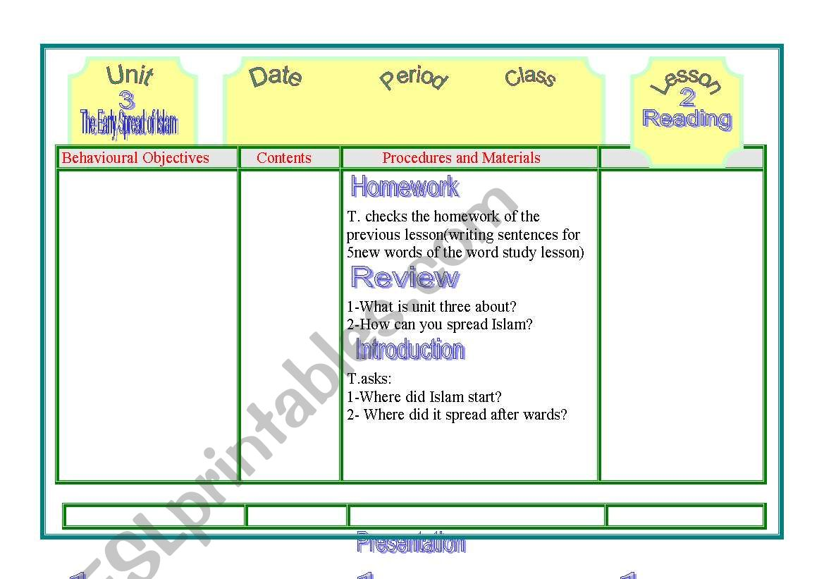 English Worksheets Early Spread Of Islam