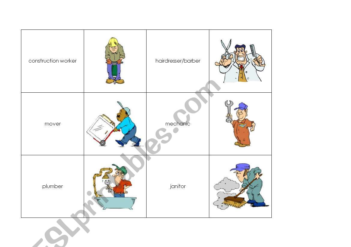 Memory Cards Jobs Professions 2 3 Pages
