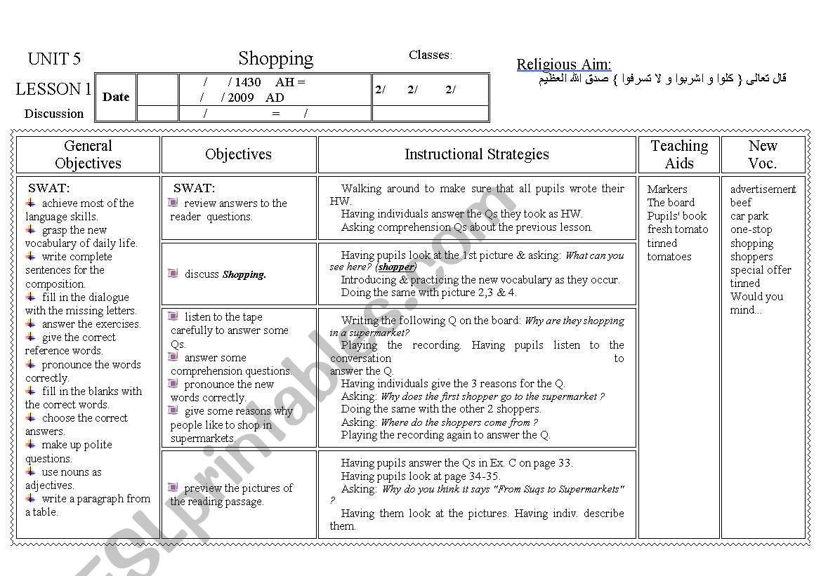 English Worksheets Shopping