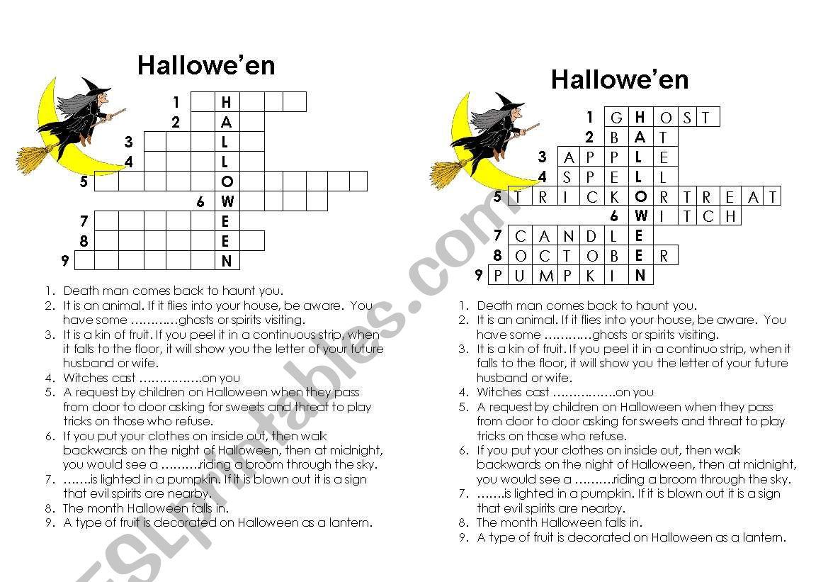 Crossword On Halloween
