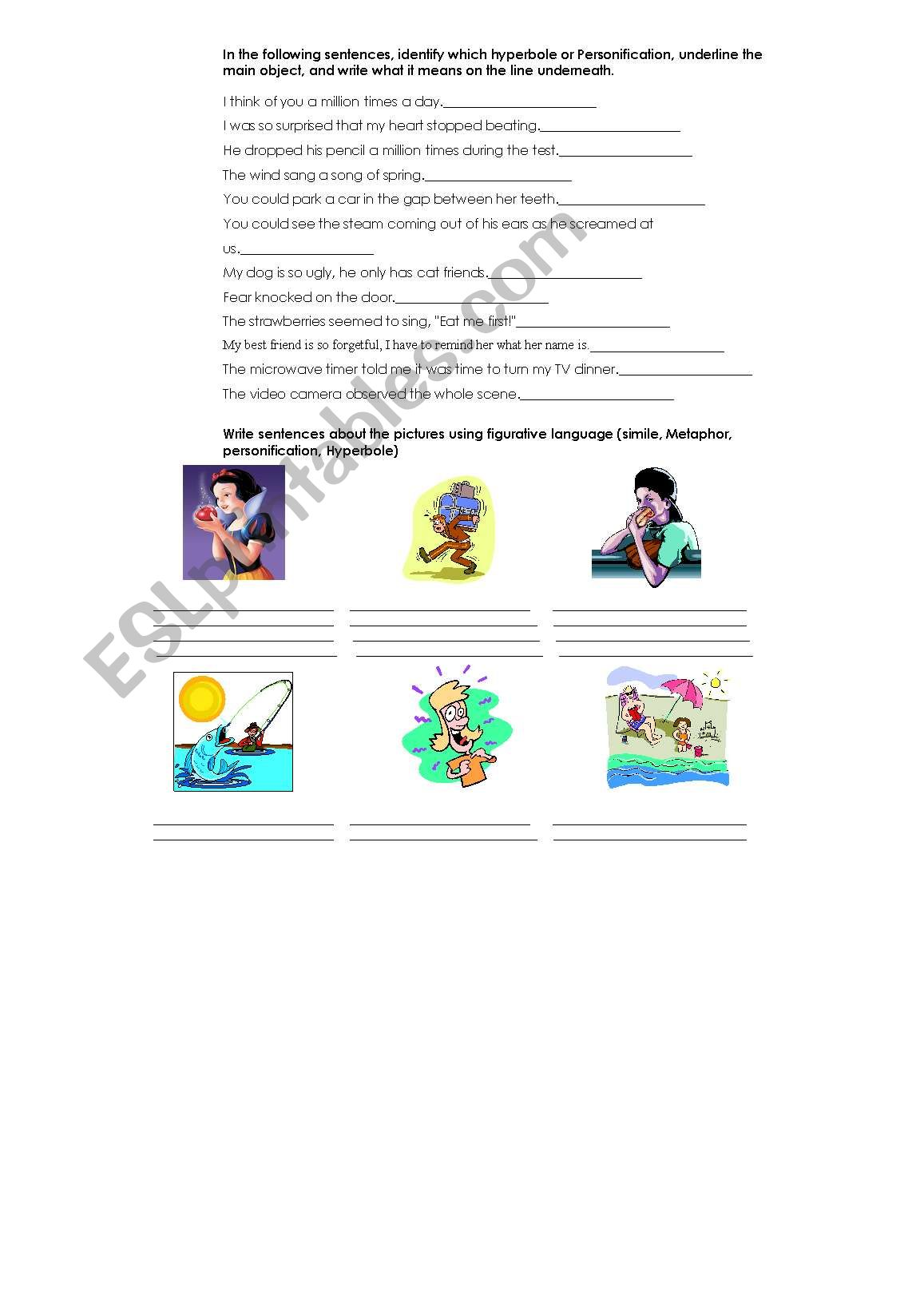 English Worksheets Figurative Language Simile Metaphor Hyperbole Personification