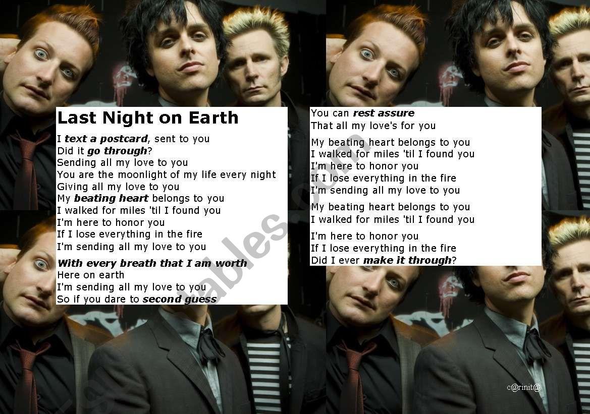 Last Night On Earth By Green Day Lyrics