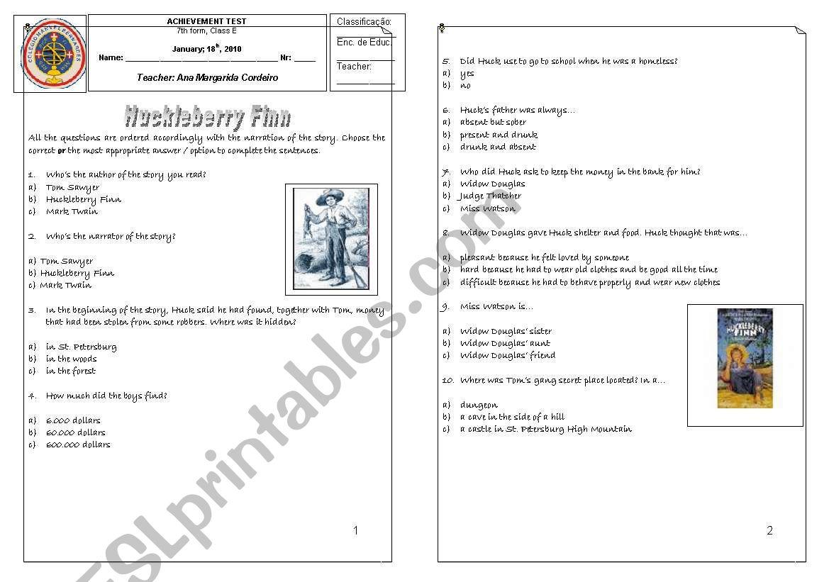 English Worksheets Huckleberry Finn