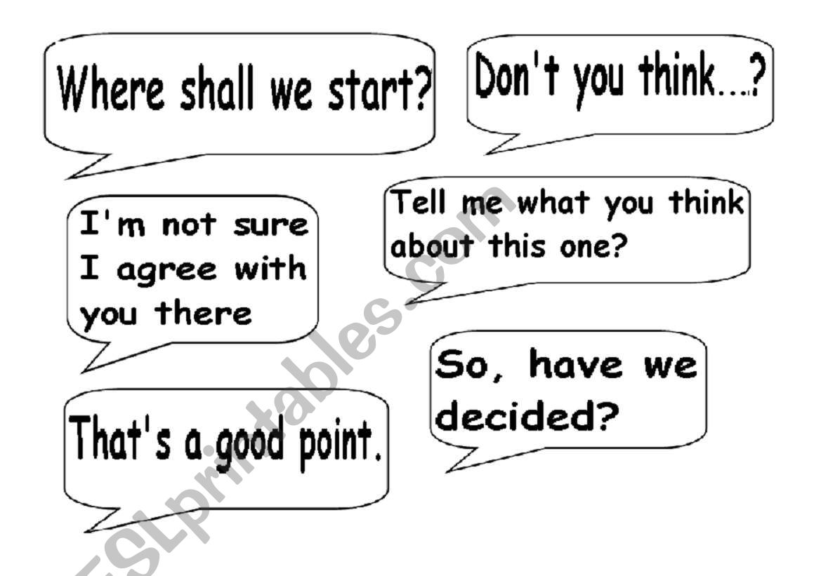 English Worksheets Useful Expressions For Decision Making