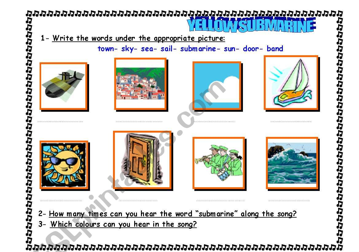 Worksheet To Work With The Yellow Submarine Beatles Song