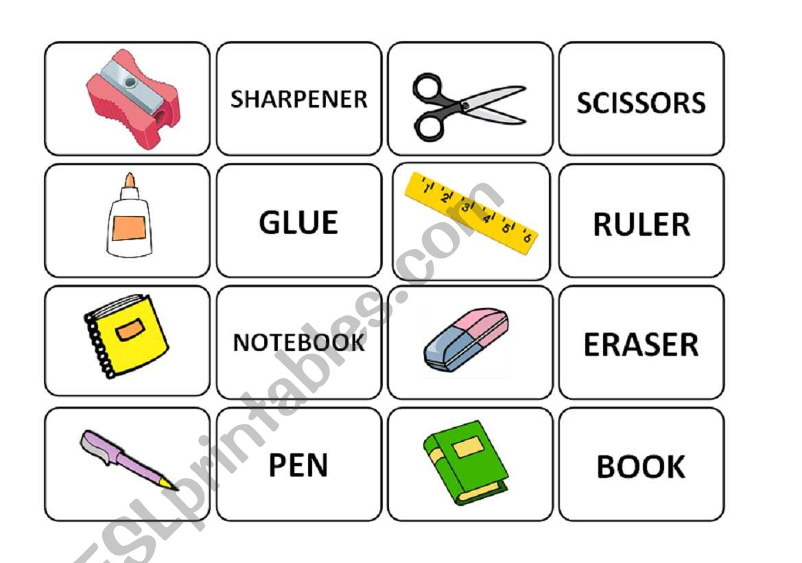 School Objects Memory Game Part 1