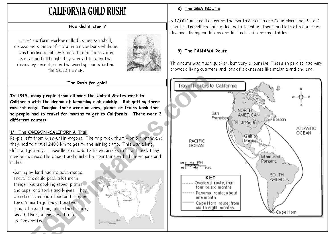 English Worksheets California Gold Rush Part 1