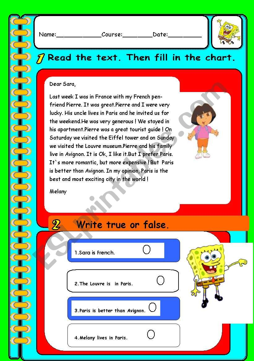 Reading Comprehension Verb To Be Regular Verbs