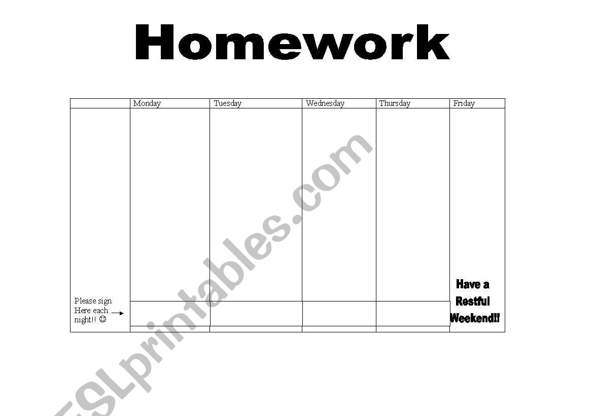 English Worksheets Homework Sheet