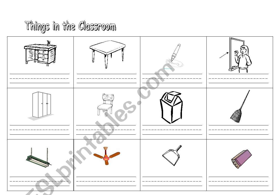 English Worksheets Things In The Classroom