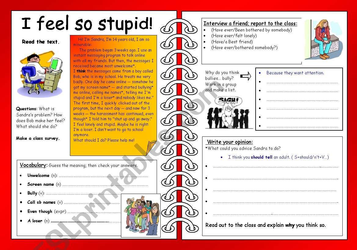 4 Skills Ws Cyberbullying I Feel So Stupid