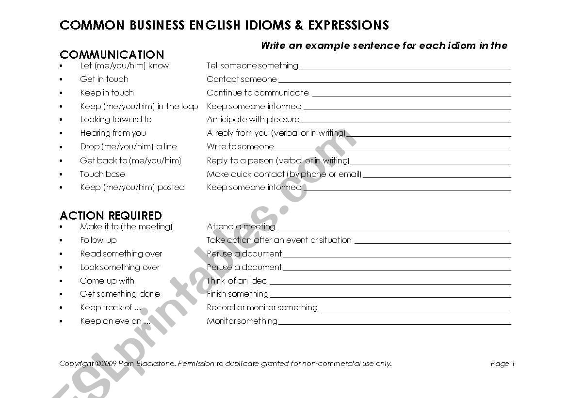 Common Business English Idioms Amp Expressions