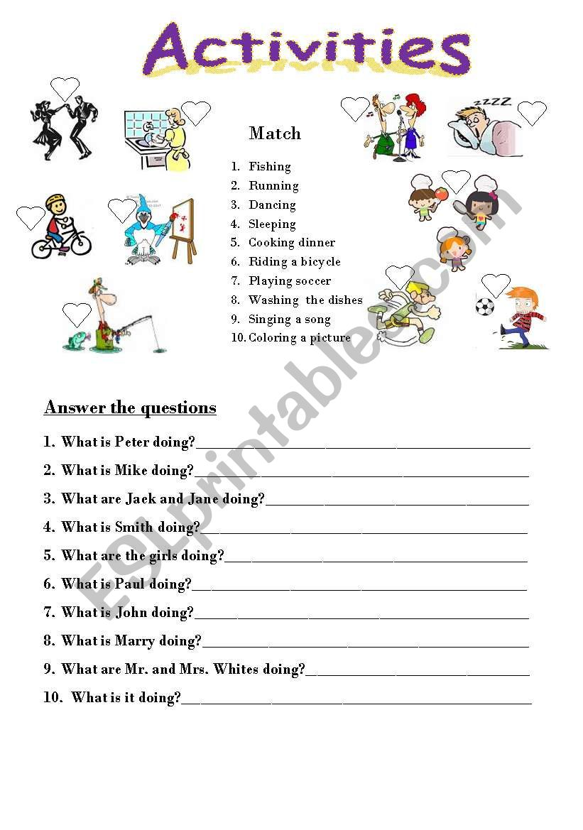 Matching With Activities Vocabulary And Answer The