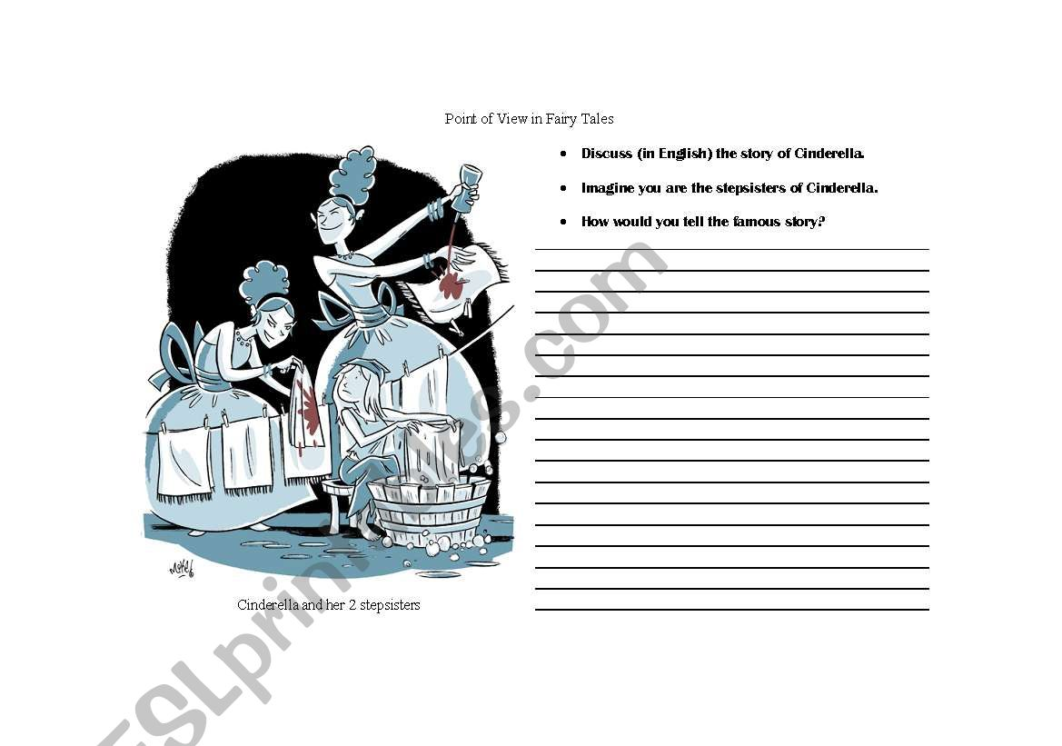 English Worksheets Point Of View Fairy Tales Cinderella