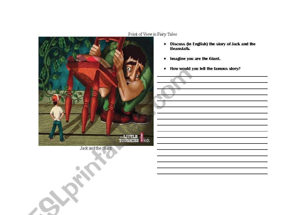 English Worksheets Point Of View Fairy Tales Jack And
