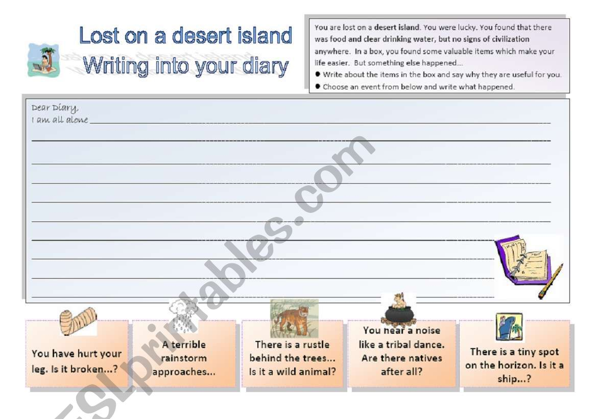 Lost On A Desert Island 3 3 Writing Activity