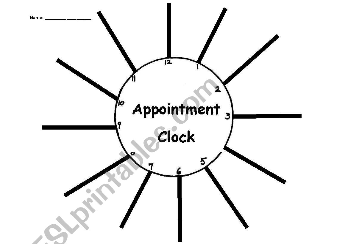 English Worksheets Time Appointment Clock