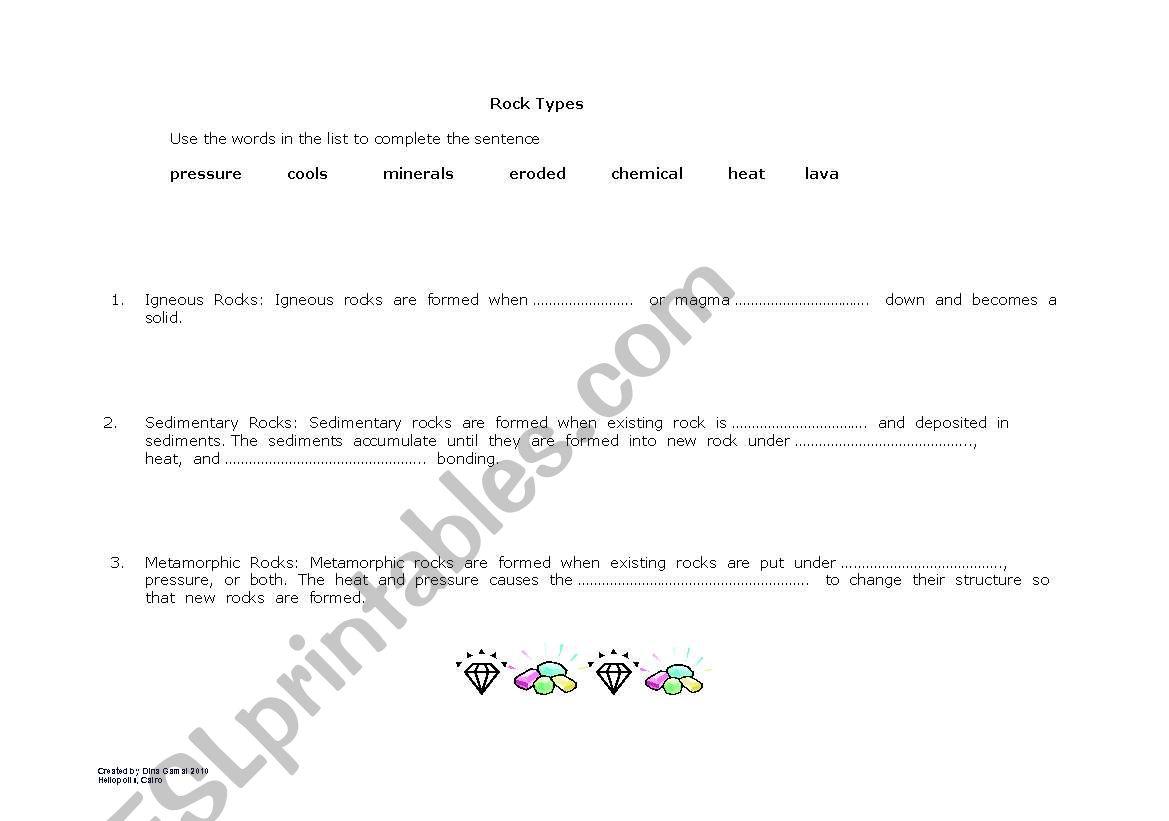 English Worksheets Rock Types