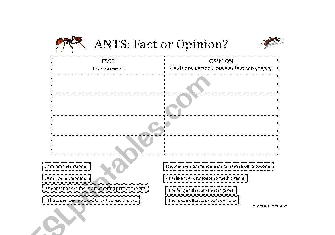 English Worksheets Fact Or Opinion Ants