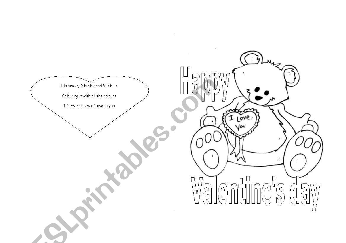 English Worksheets Valentine S Day Card For Young Learners