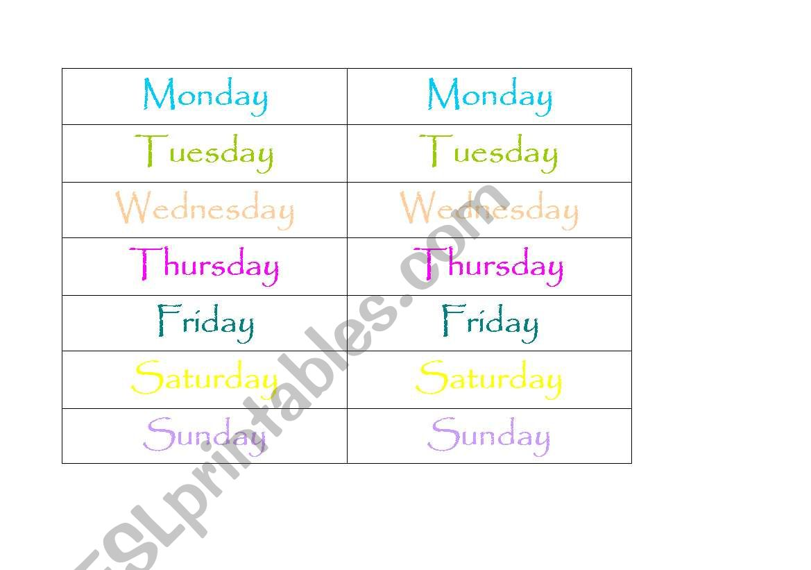 English Worksheets Days Of The Week Memory Game