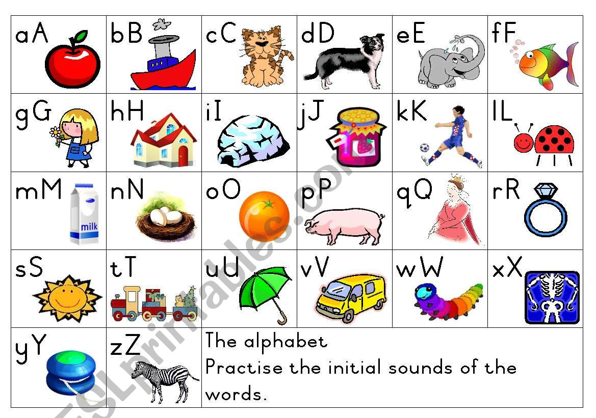 English Worksheets Alphabet Initial Sounds