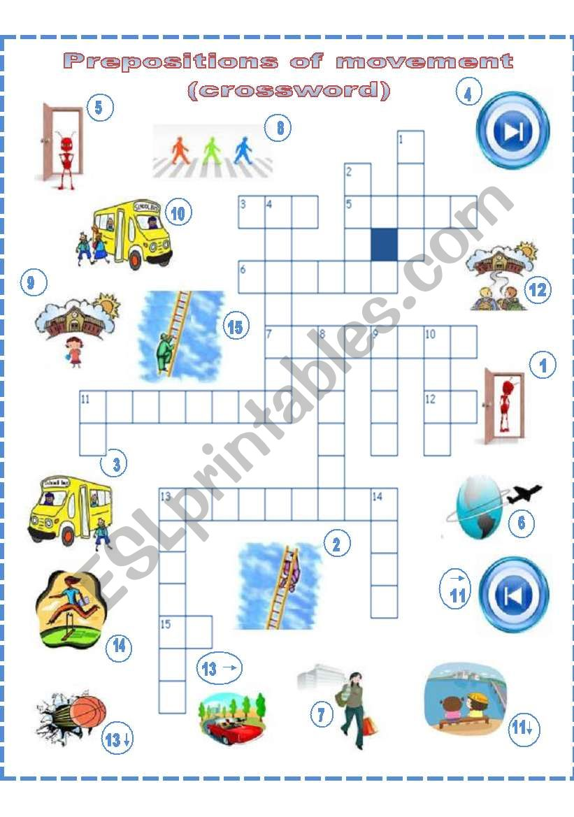 Prepositions Of Movement A Crossword