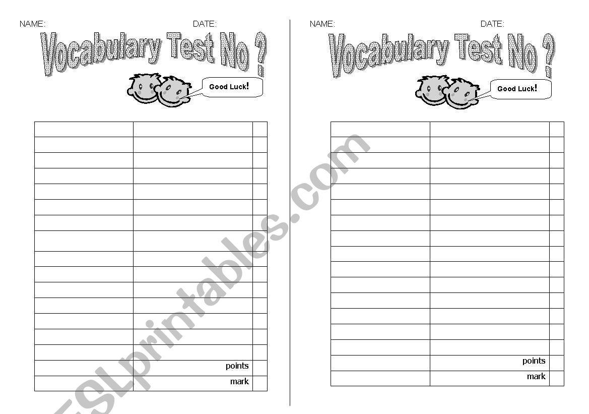 English Worksheets Vocabulary Test