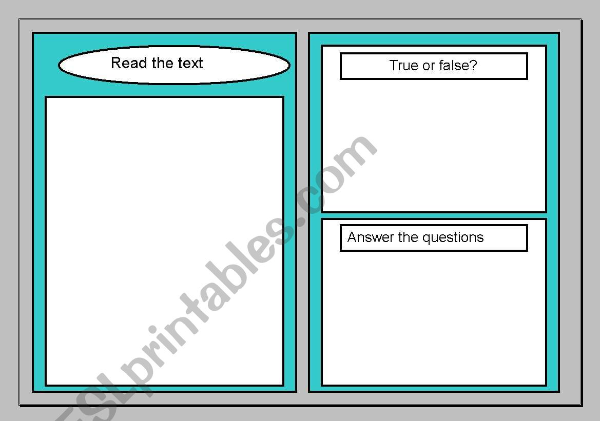 English Worksheets Reading Comprehension Template