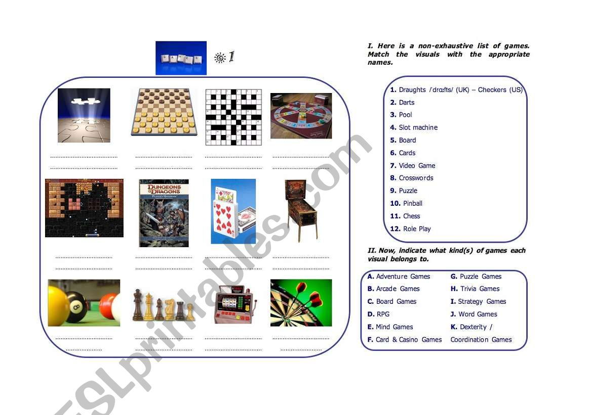 English Worksheets Games Vocabulary 1