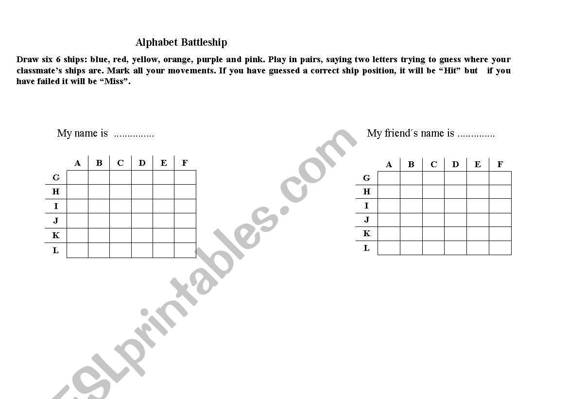 English Worksheets Alphabet Battleship