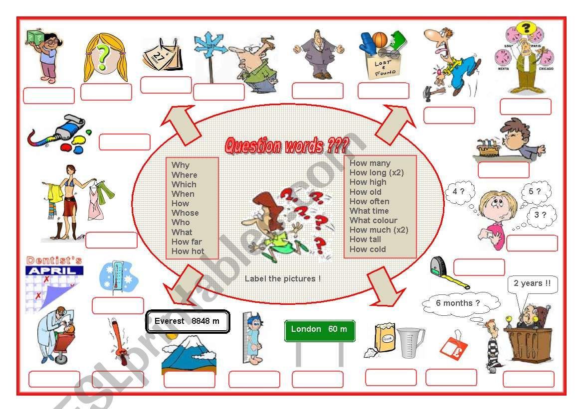 Question Words A Labelling Worksheet Editable