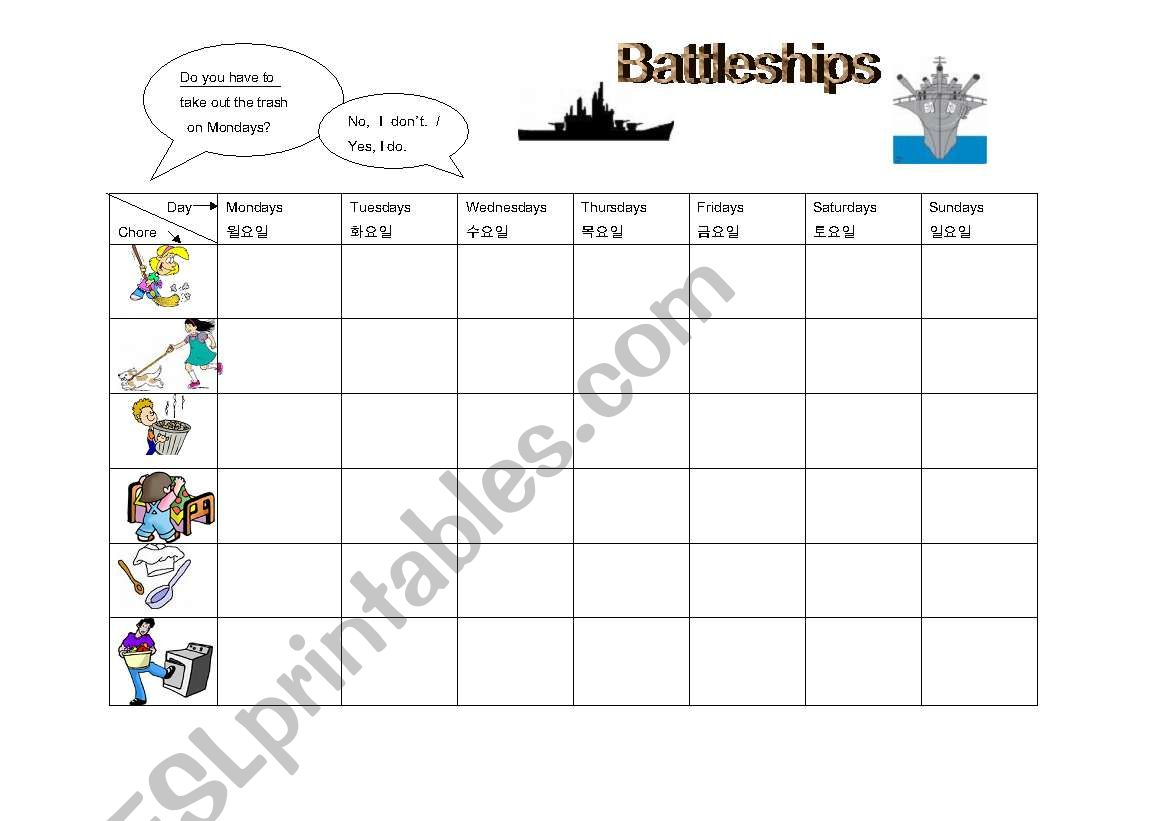 Chores Battleships Game