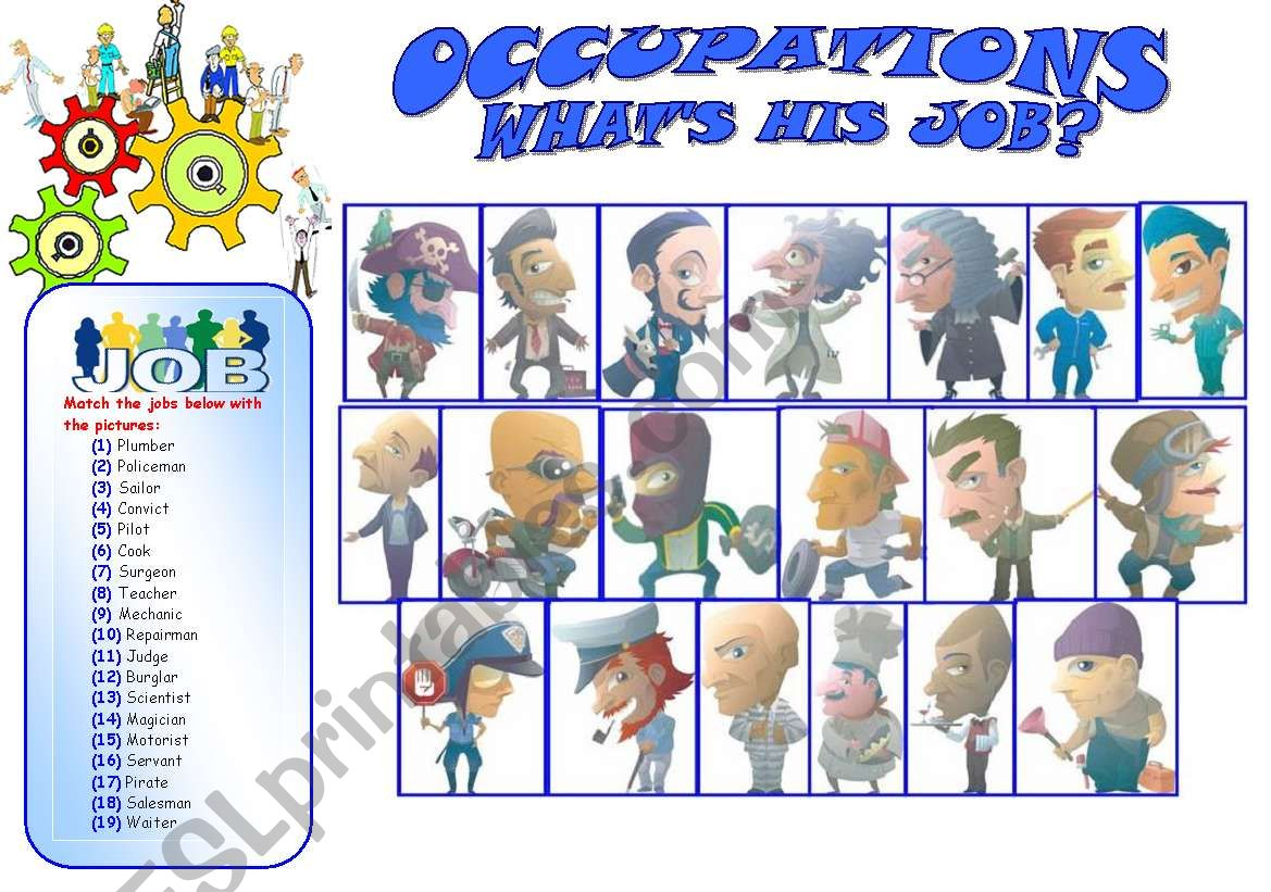 Occupations Mostly Carried Out My Males Matching Exercise