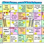 Snakes And Ladders Kids Or Beginner Adults Esl Worksheet By Celine1