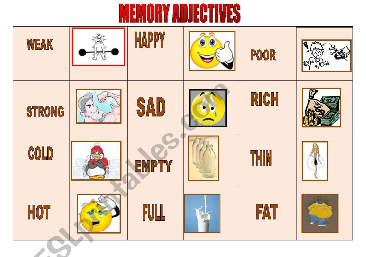Memory Adjectives