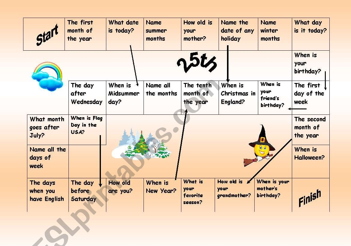 Easy Board Game To Train Months Dates Days Of Week