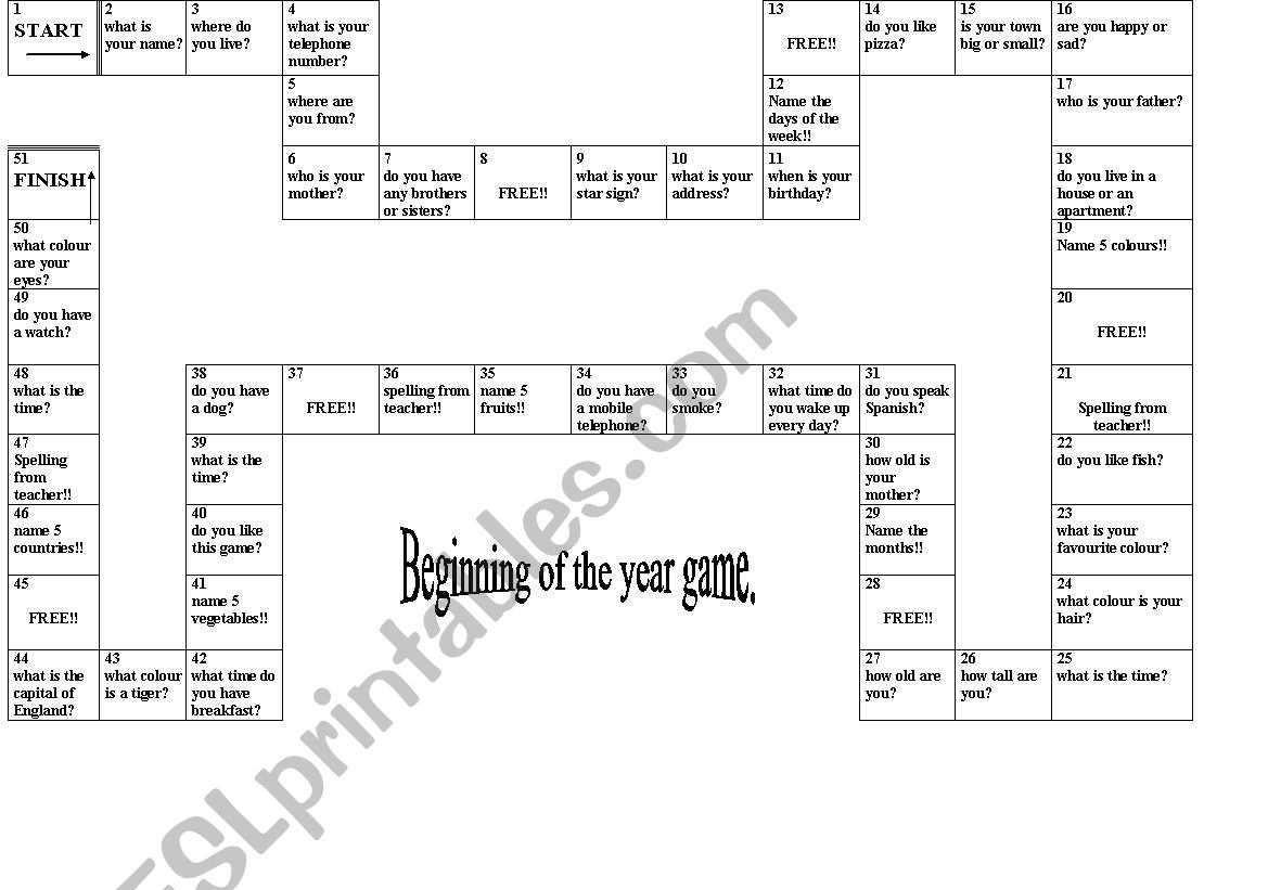 Beginning Of The Year Board Game