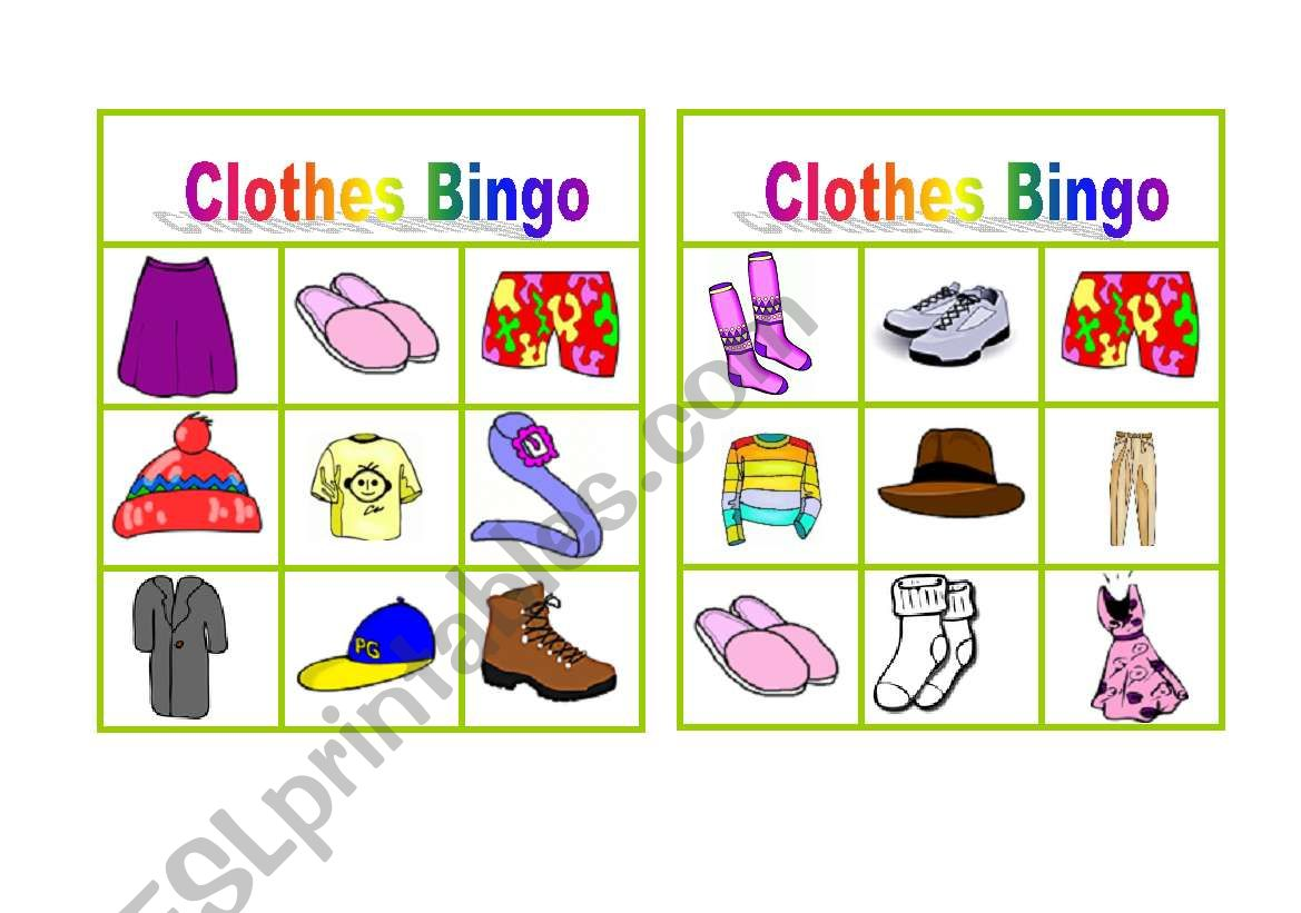 Clothes Bingo Worksheet 1