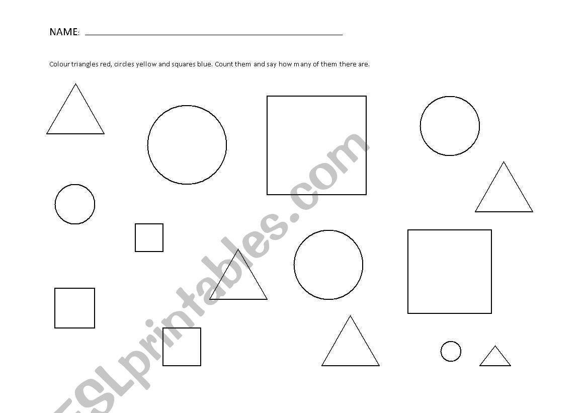 English Worksheets Shapes Circle Triangle And Square