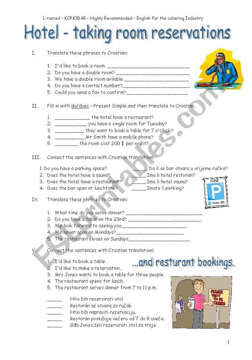 Retail   buyer's guide written by: Hotel Restaurant Esl Worksheet By Borna