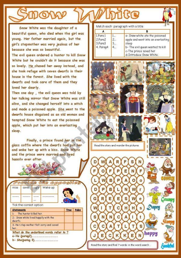 Snow White - ESL worksheet by falafel