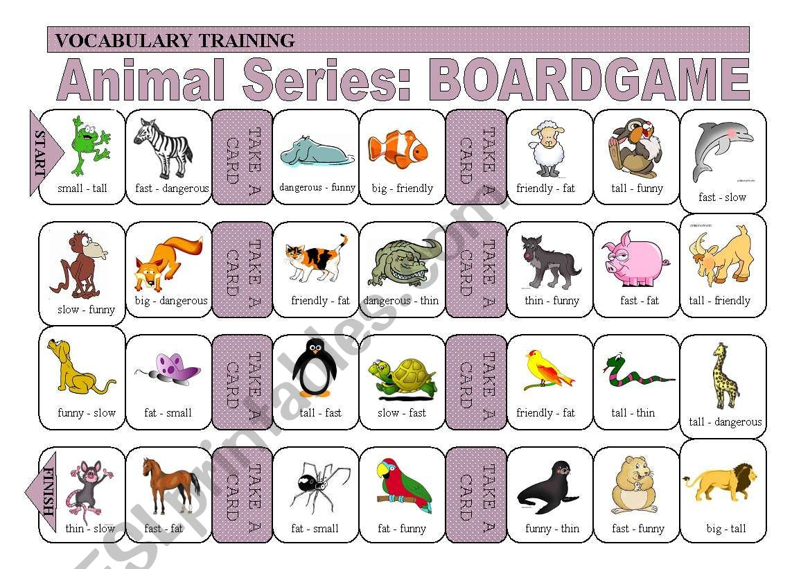 Practice Of Adjectives And Animals Boardgame