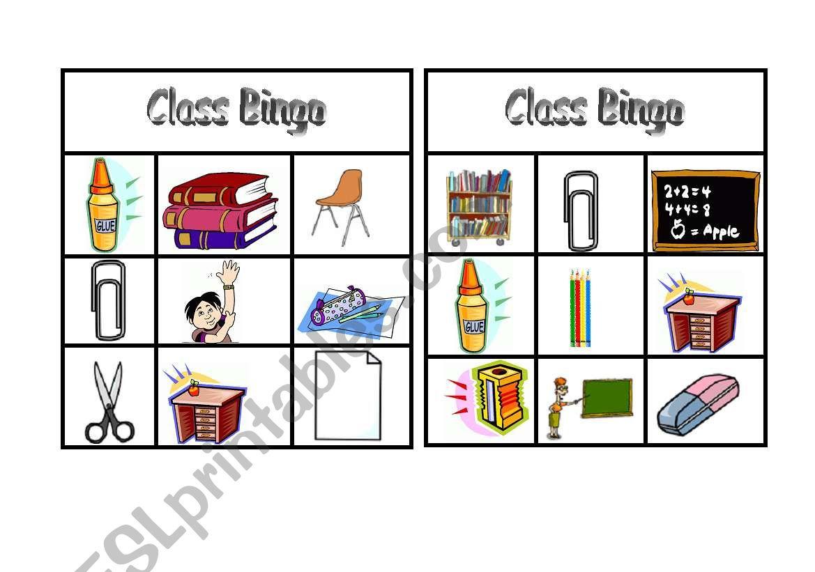 Game Bingo Practising Classroom Vocabulary Doc2